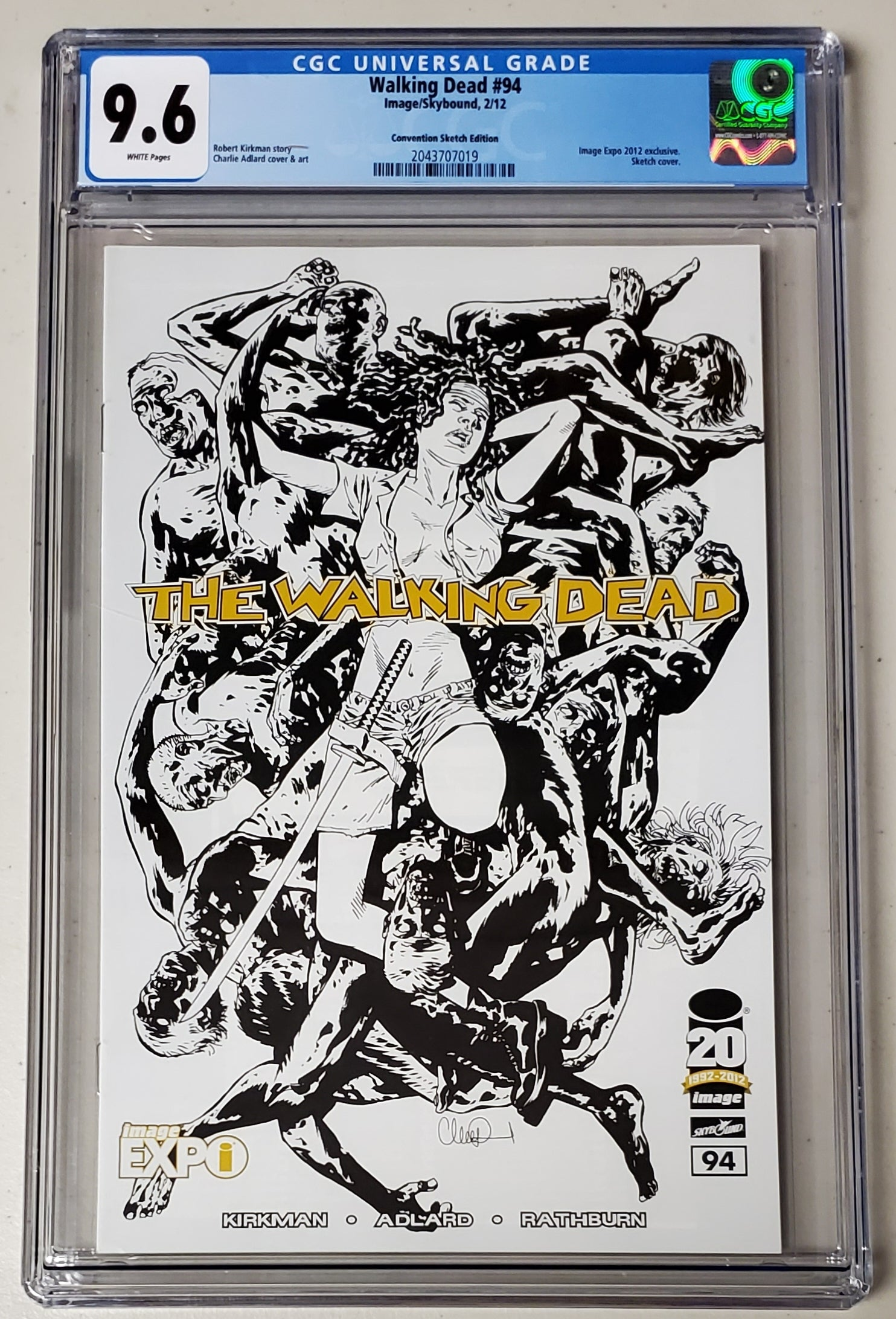 9.6 CGC Walking Dead #94 Image Expo Sketch Variant 2012
