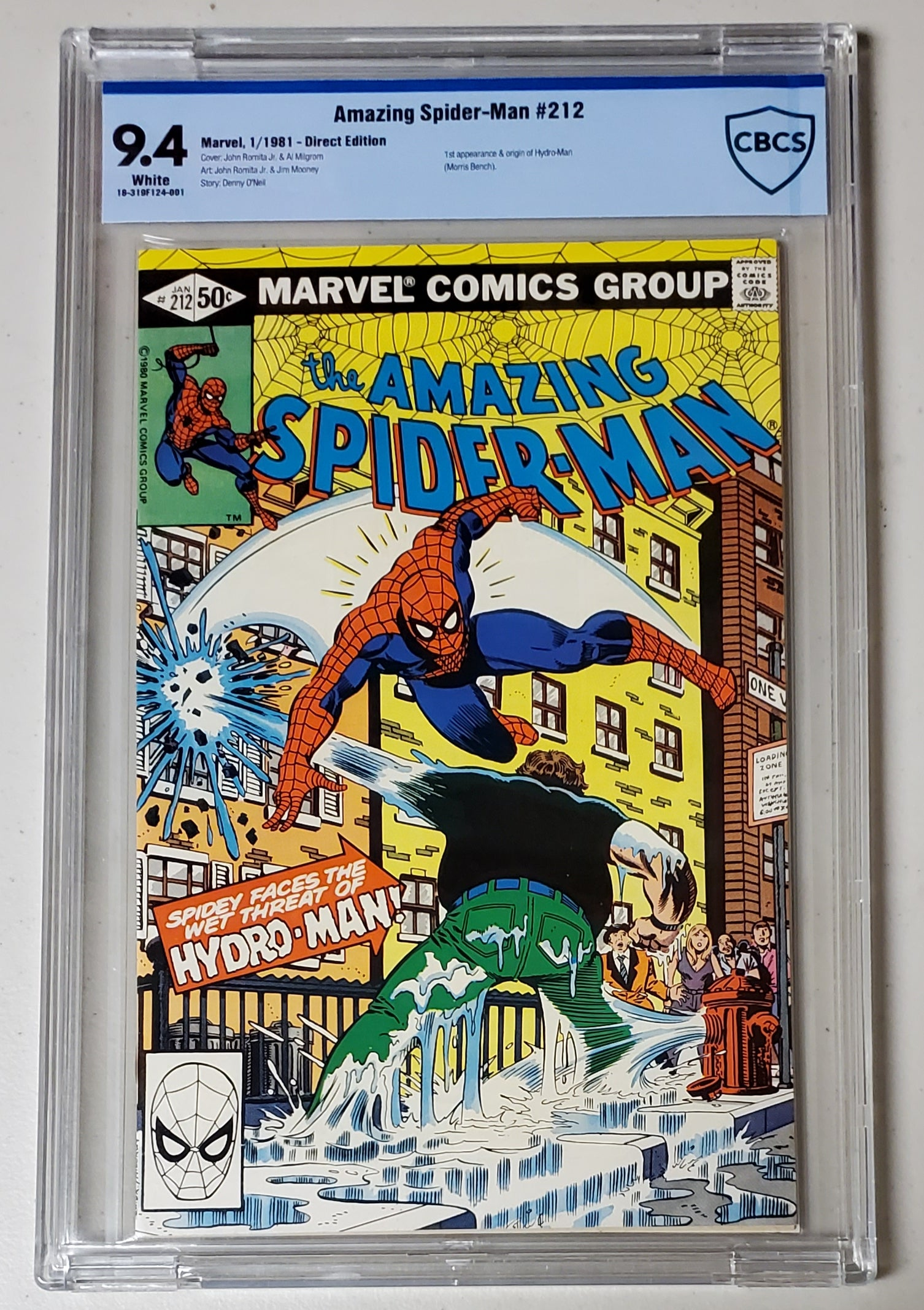 9.4 CBCS Amazing Spider-Man #212 (1st Hydro Man) Marvel Comics 1981