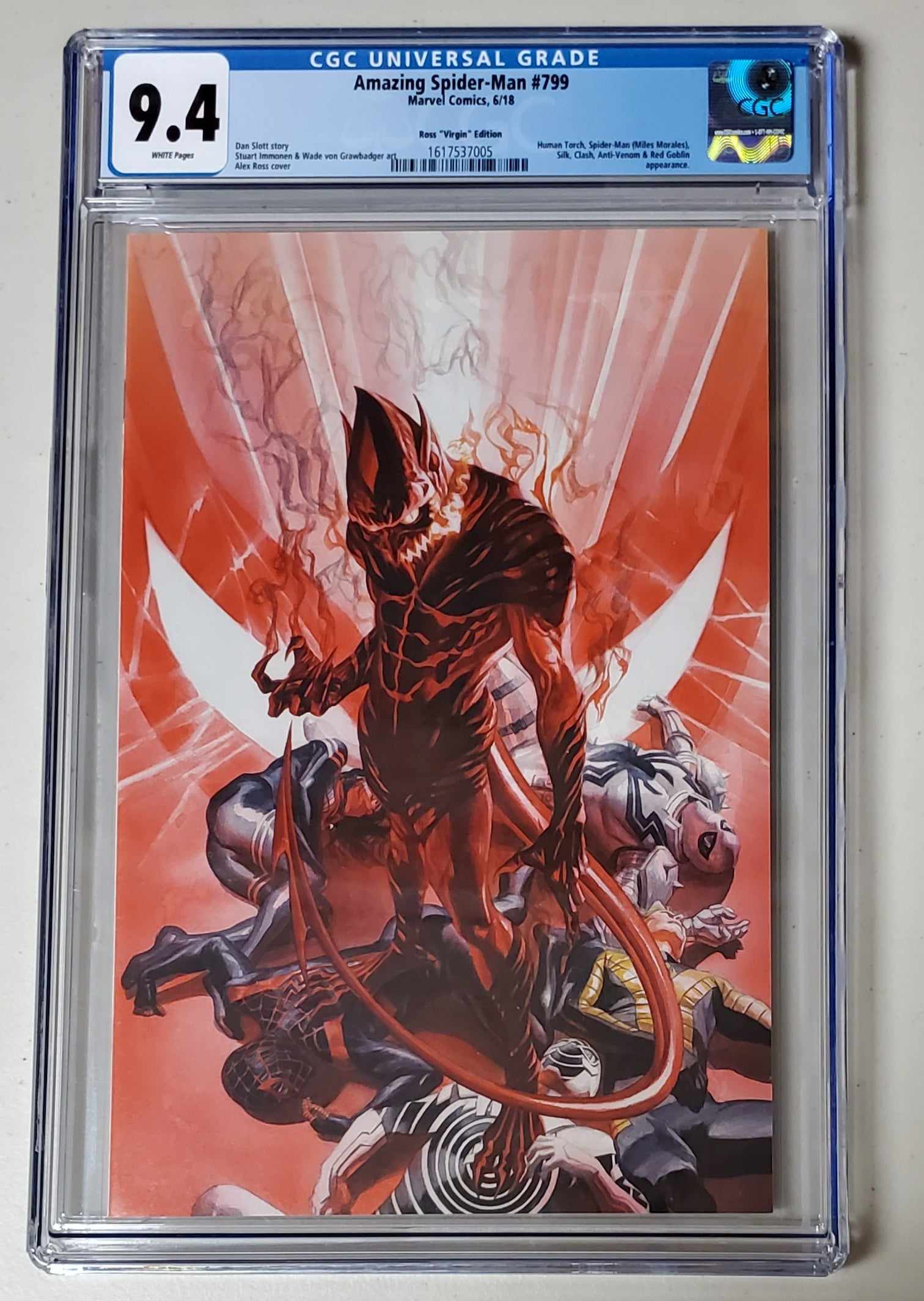 9.4 CGC Amazing Spider-Man #799 Alex Ross 1:100 Virgin Variant Red Goblin 2018