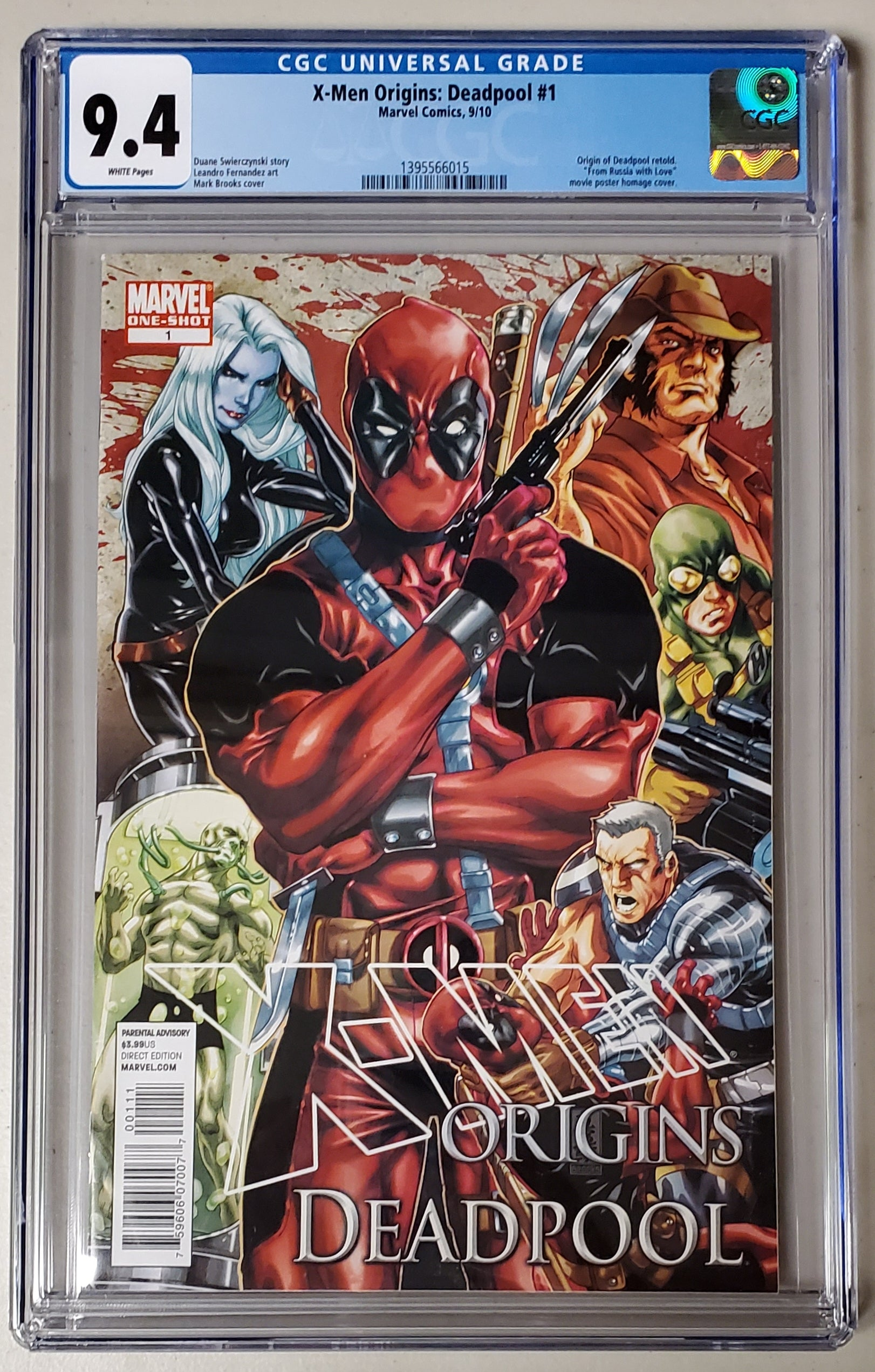 9.4 CGC X-Men Origins Deadpool #1 Mark Brooks Marvel Comics 2010