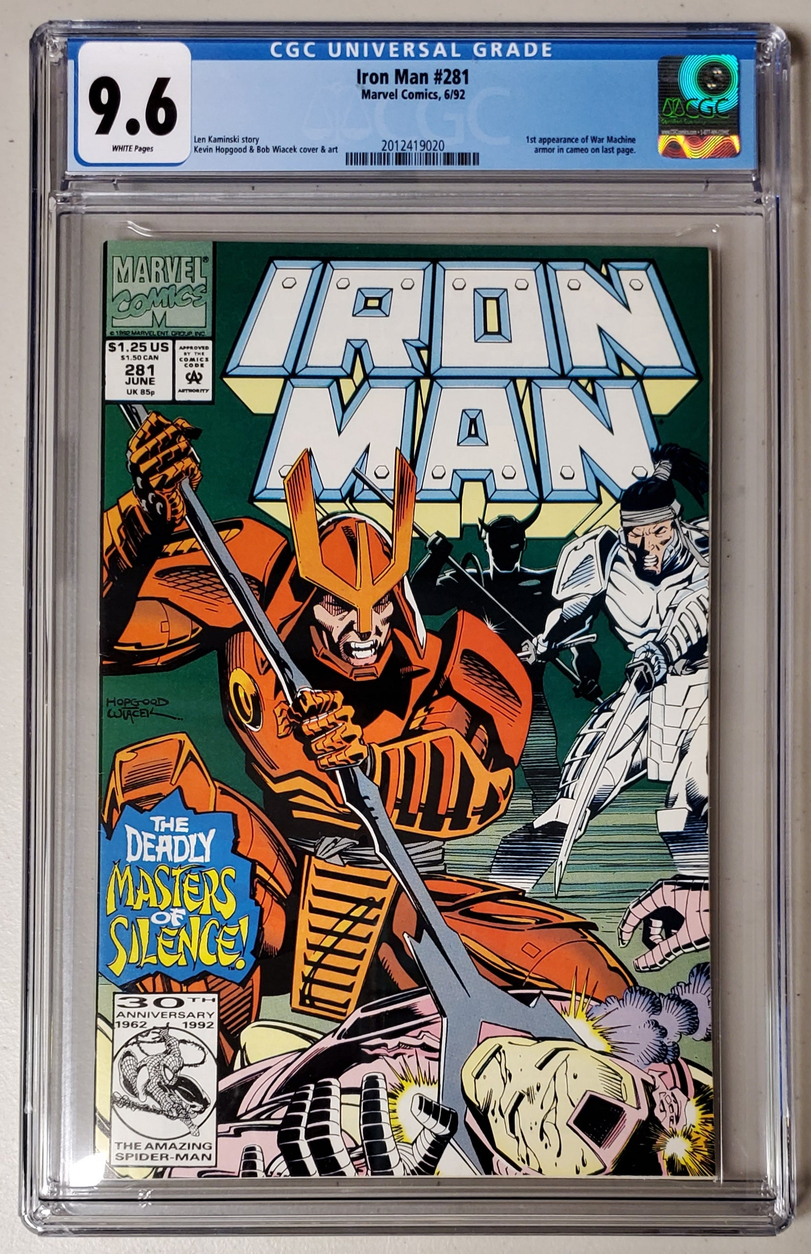 9.6 CGC Iron Man #281 (1st App War Machine) 1992