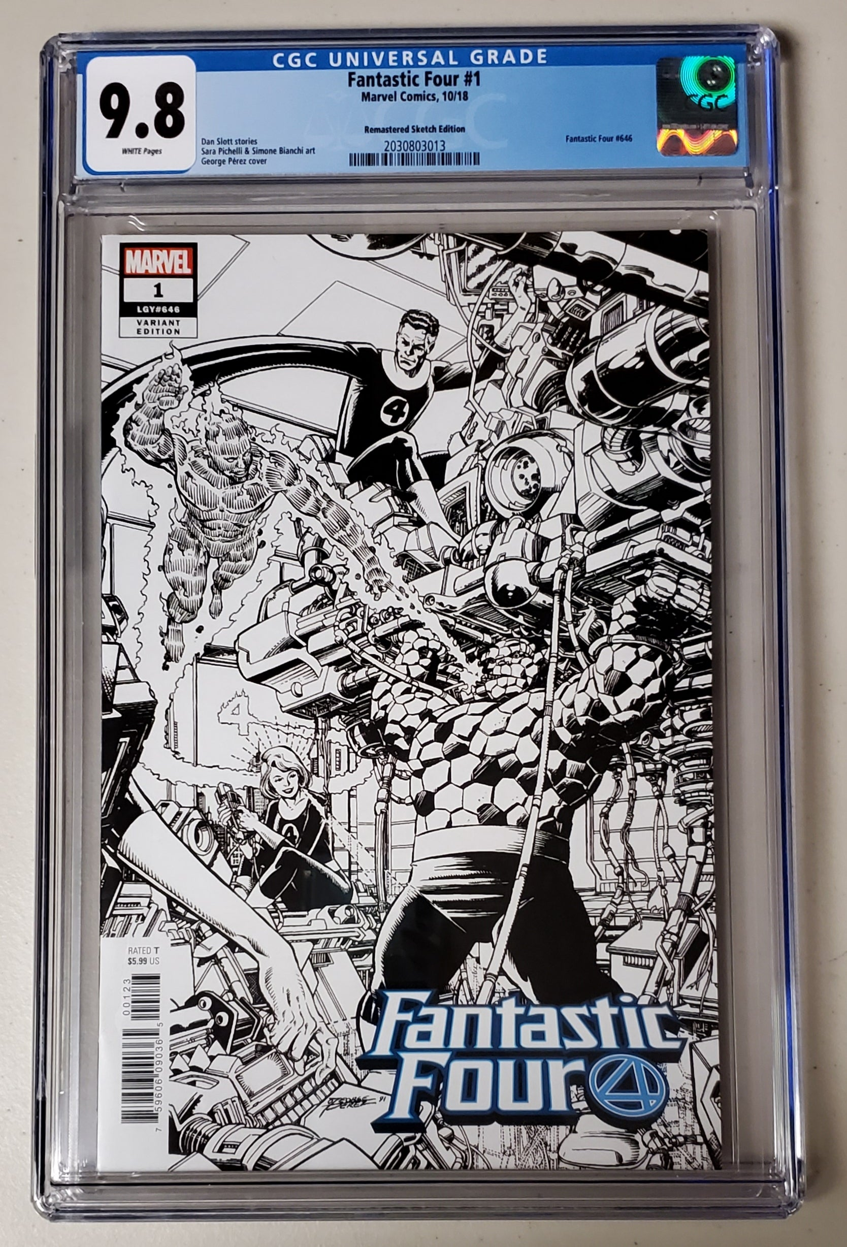 9.8 CGC Fantastic Four #1 1:1000 Remastered B&W Variant Marvel Comics 2018