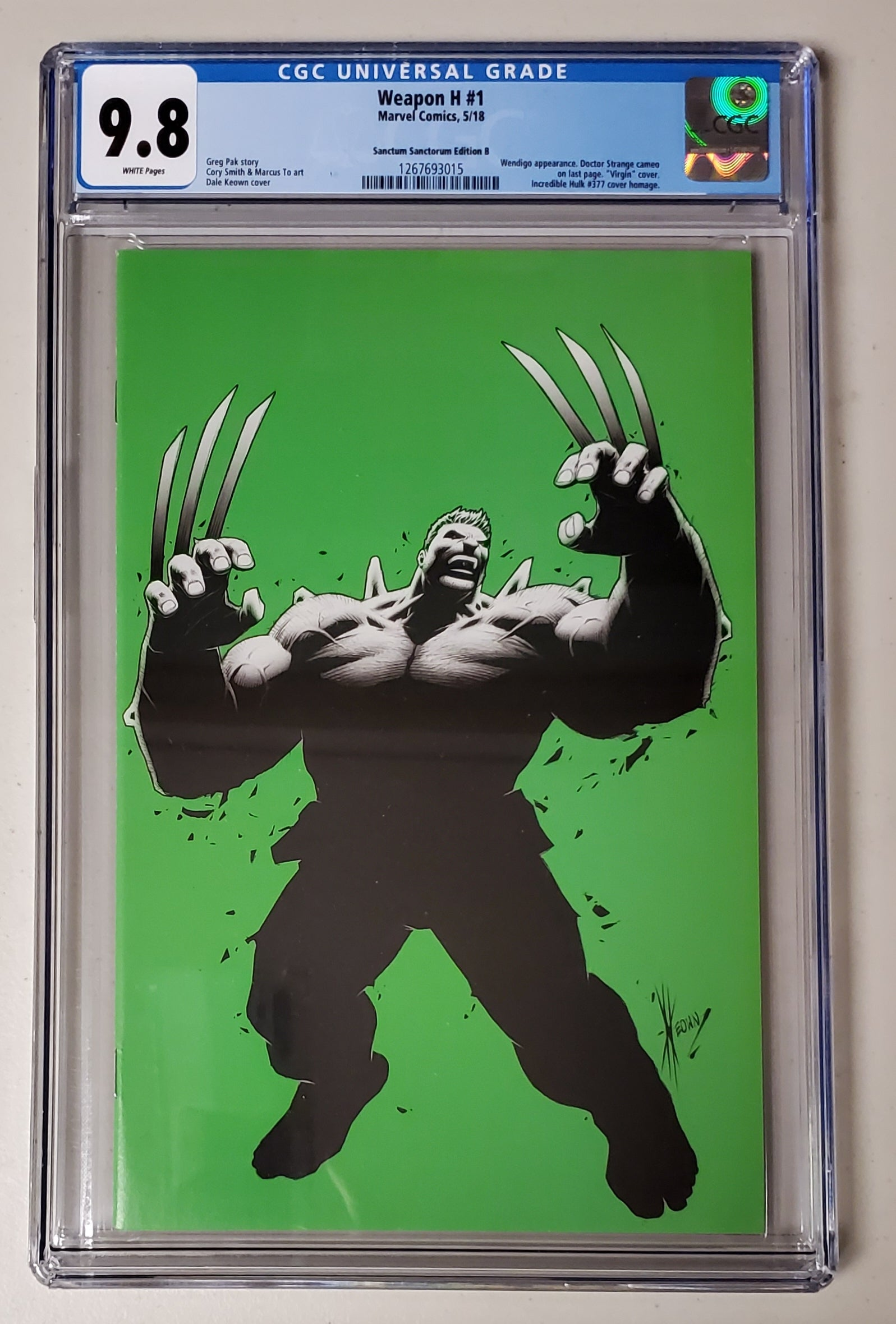 9.8 CGC Weapon H #1 Dale Keown Incredible Hulk #377 Homage Virgin Variant 2018