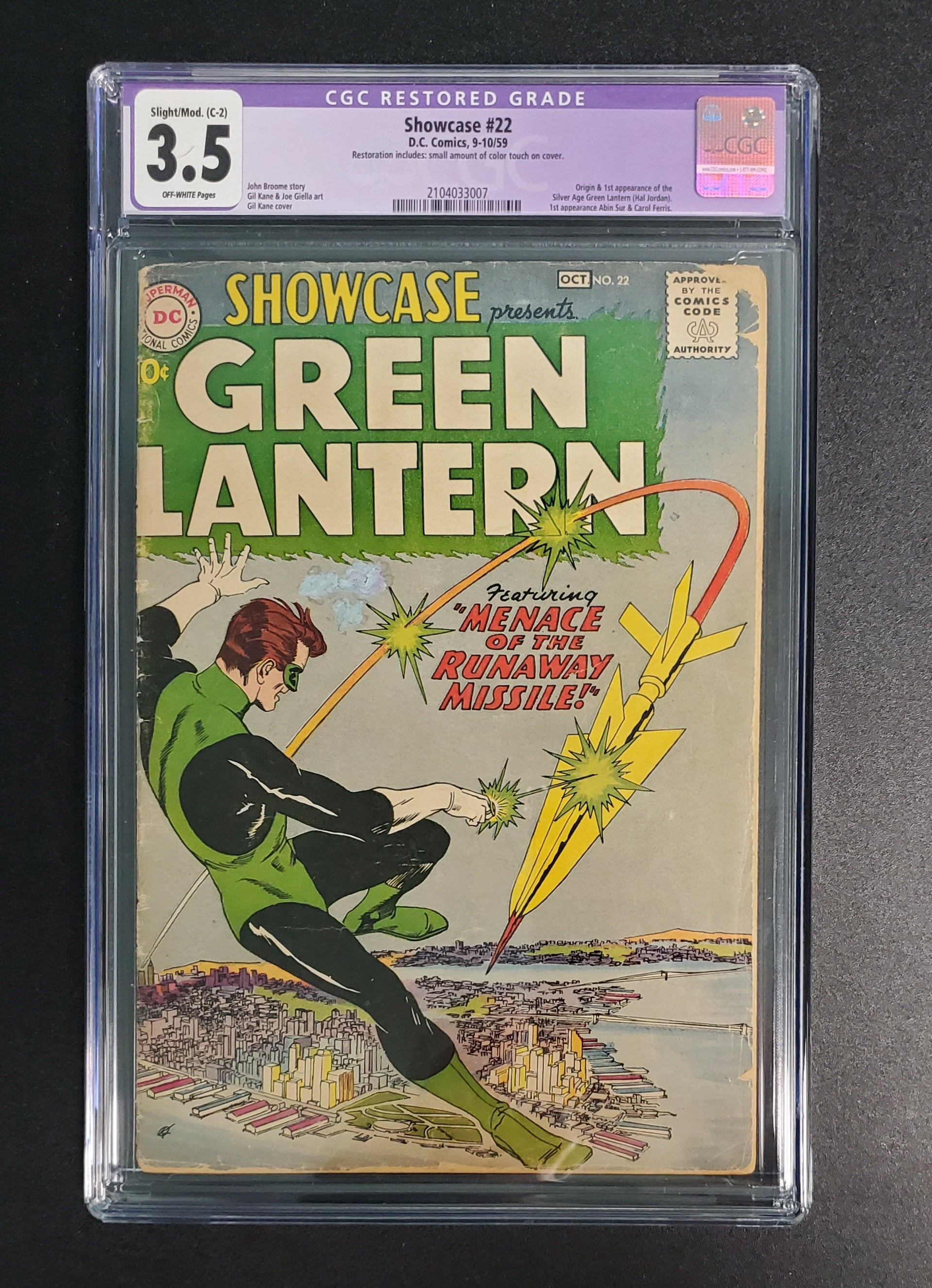 3.5 CGC PURPLE LABEL Showcase #22 (Origin & 1st App Green Lantern Silver Age Hall Jordan)