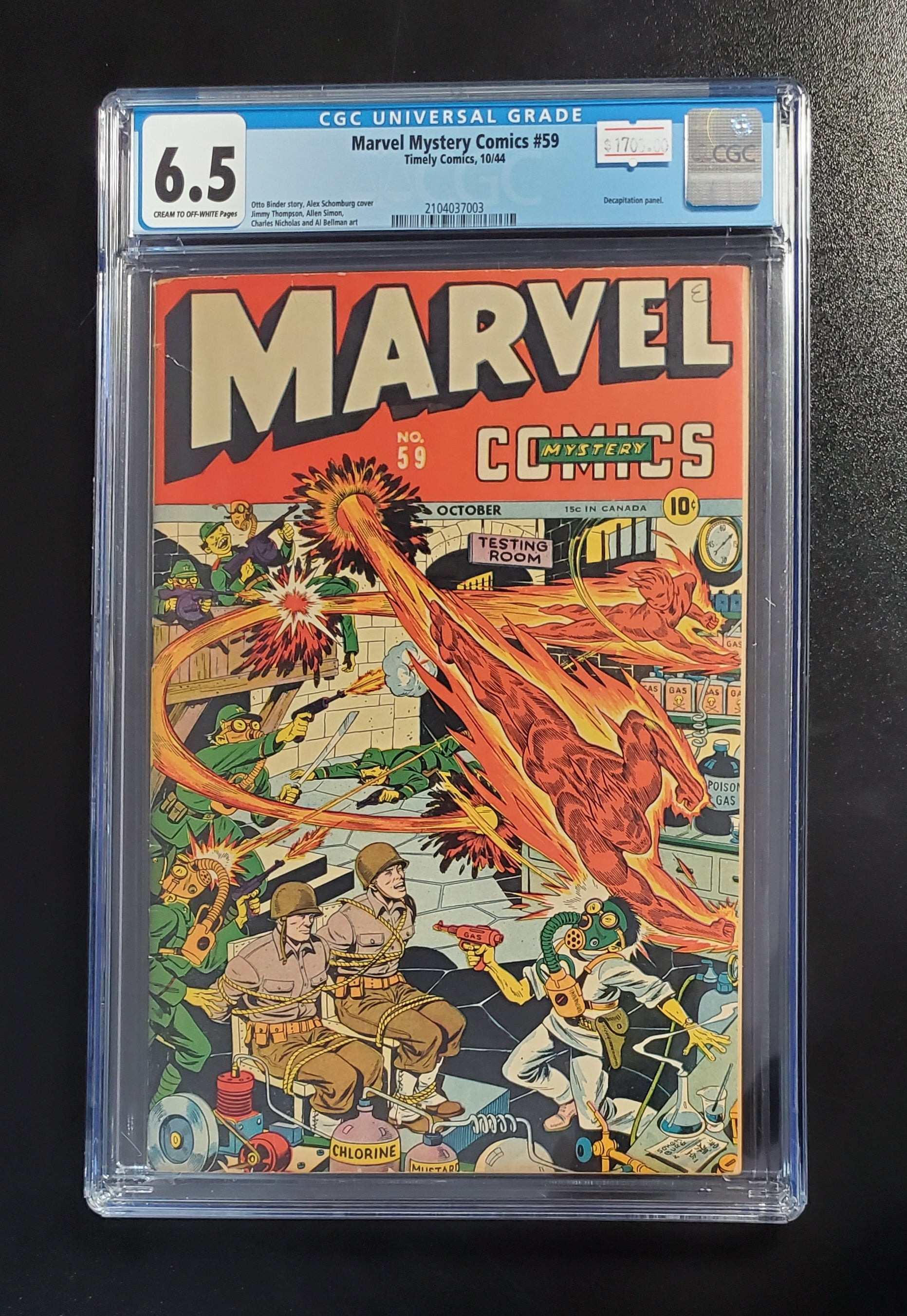 6.5 CGC Marvel Mystery Comics #59 1944