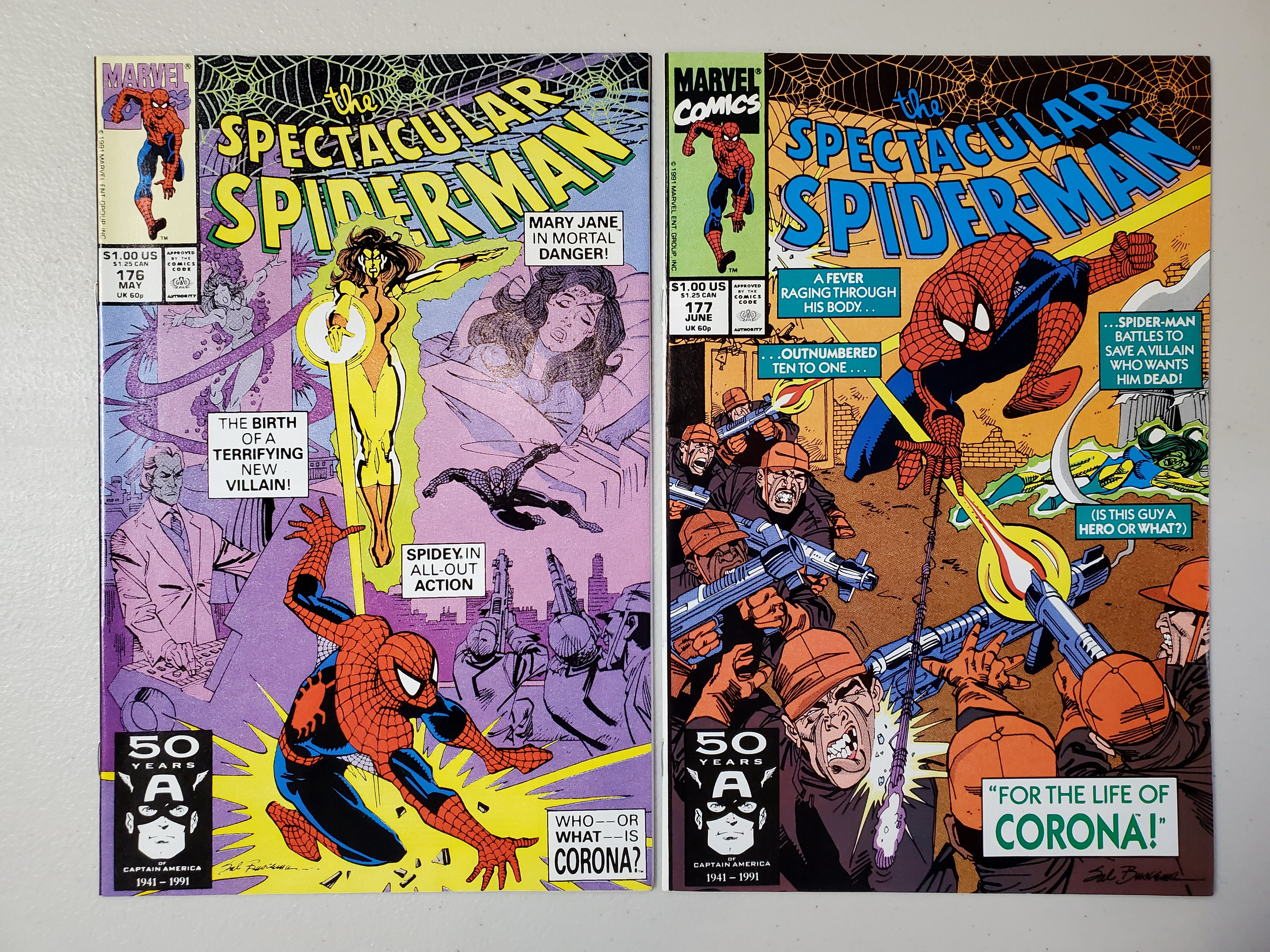 1991 Spectacular Spider-Man #176 & Spectacular Spider-Man #177 SET (1ST CORONA)