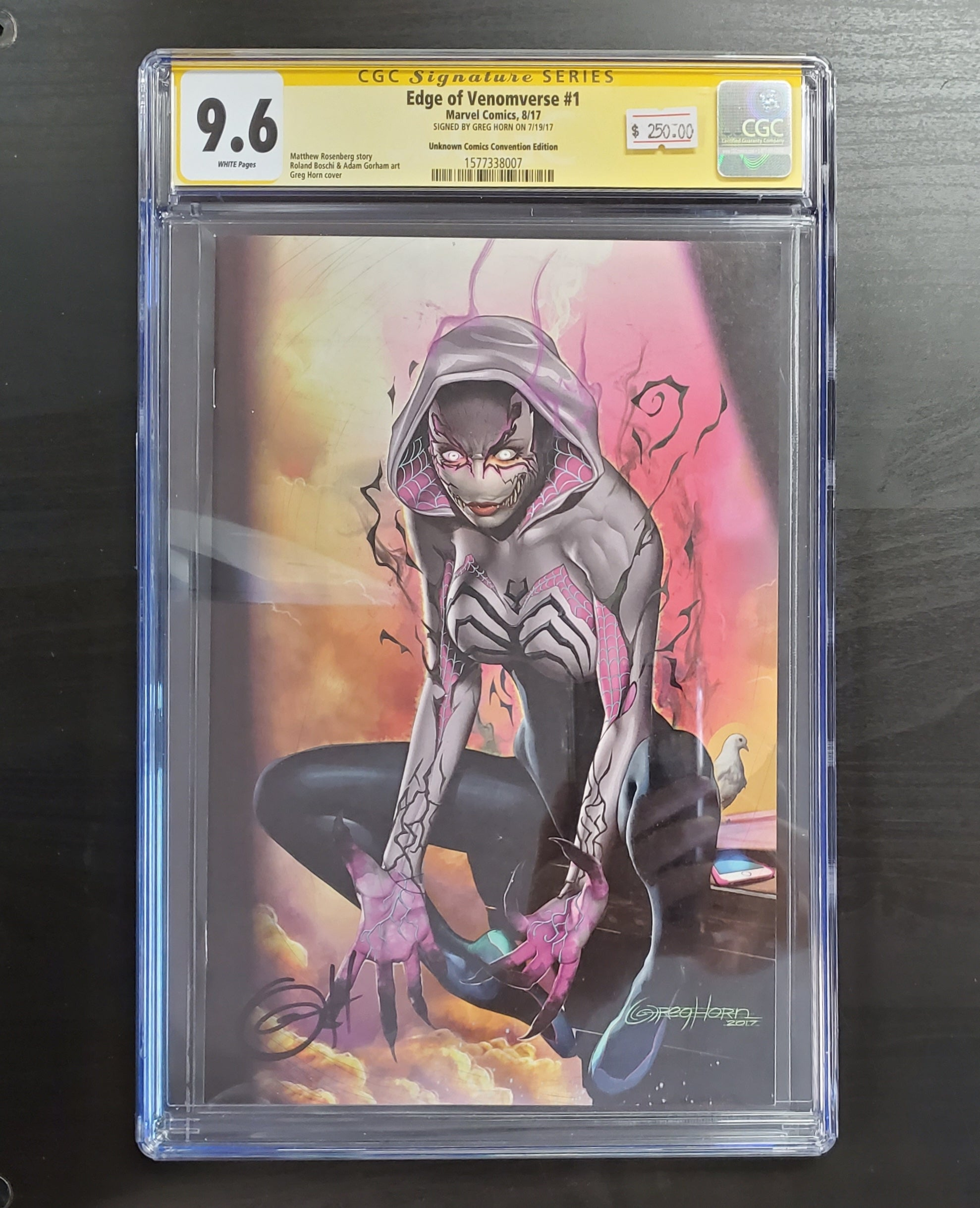9.6 CGC SS Edge of Venomverse #1 Signed by Greg Horn 2017