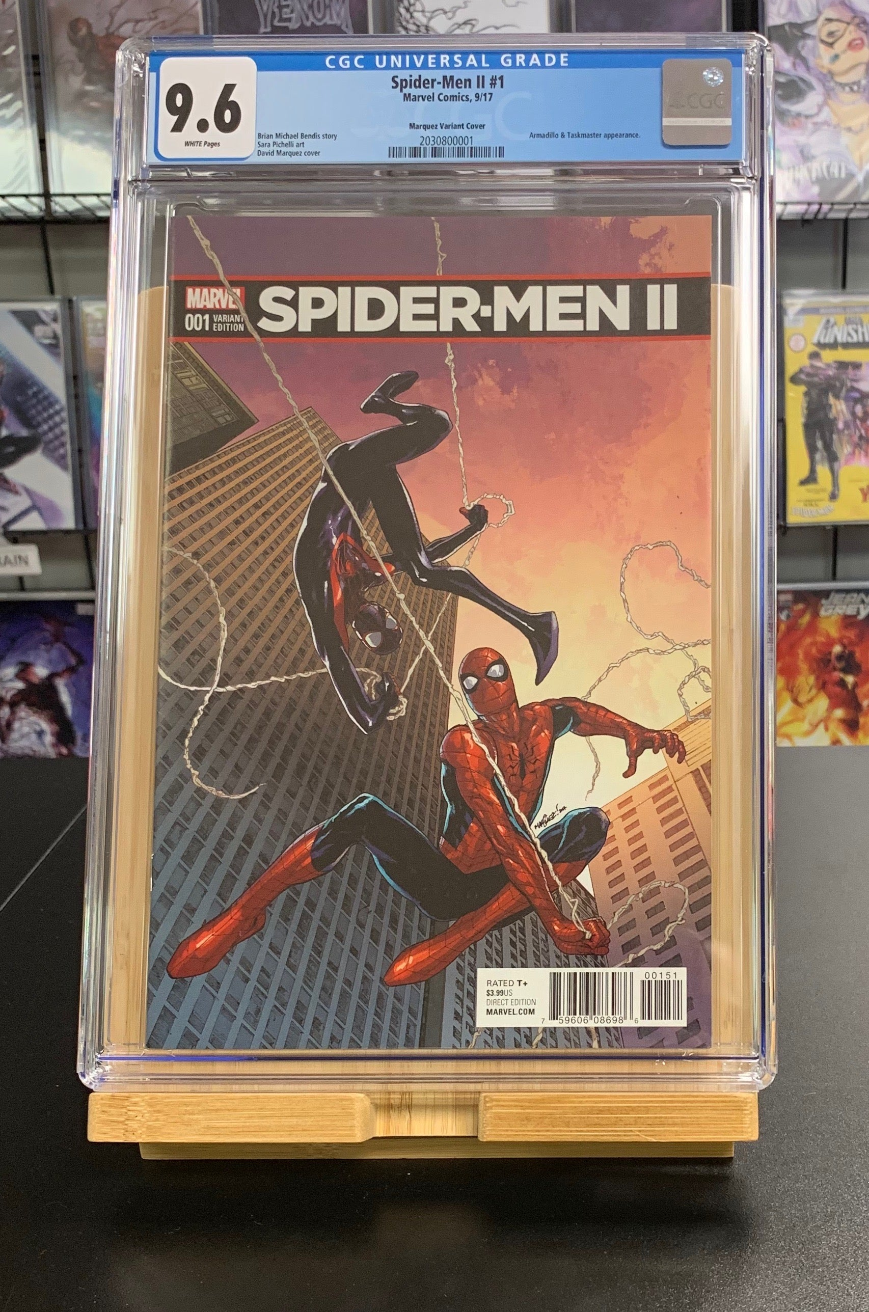 9.6 CGC Spider-Men II #1 1:25 Marquez Variant Marvel Comics 2017