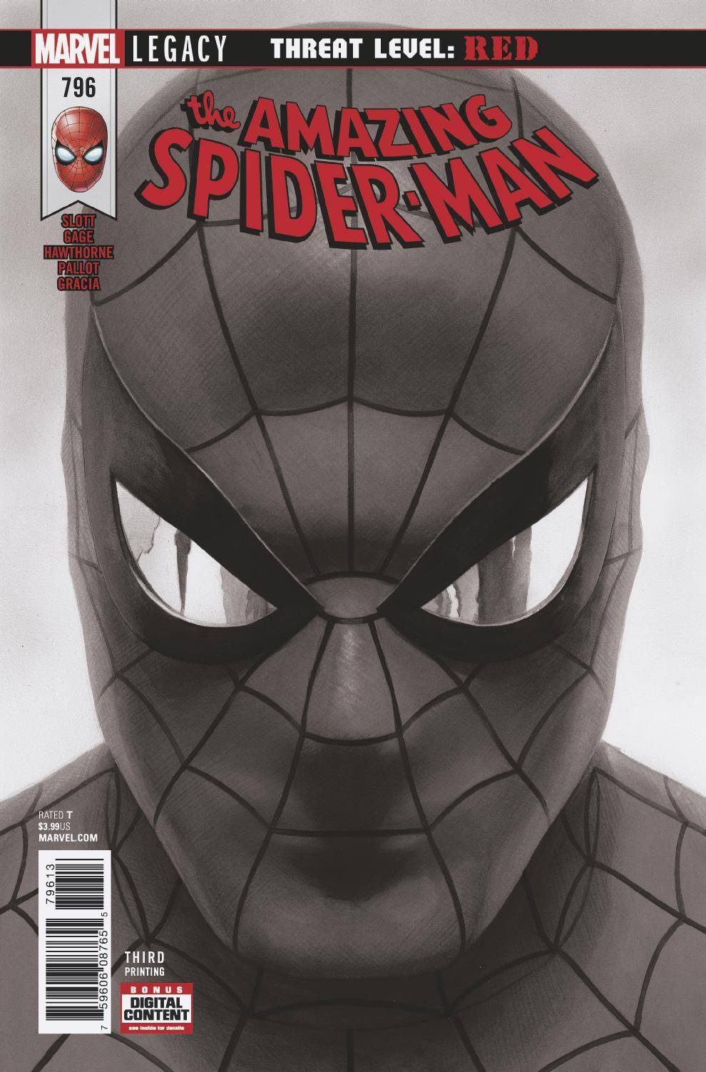 04/18/2018 AMAZING SPIDER-MAN #796 ALEX ROSS B & W 3RD PTG VARIANT