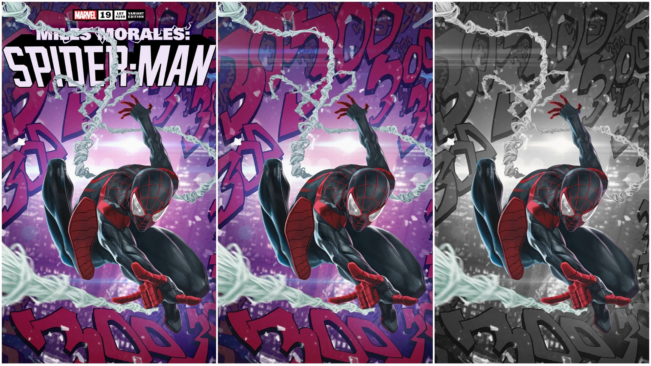 10/07/2020 MILES MORALES SPIDER-MAN #19 SSCO SKAN SRISUWAN ASM #300 HOMAGE TRADE DRESS, VIRGIN, COLOR SPLASH VIRGIN VARIANT SET OF 3