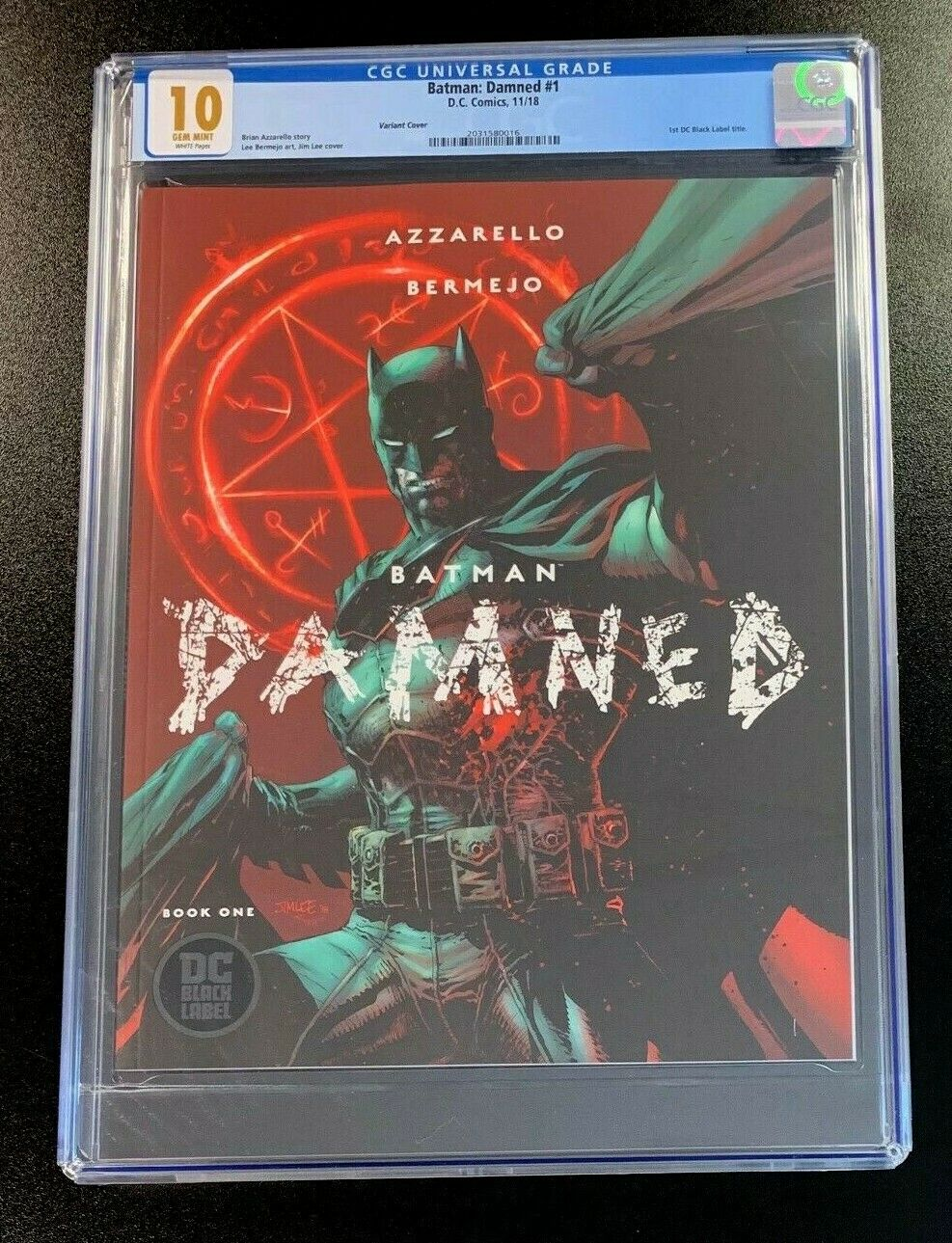 10 GEM MINT CGC Batman Damned #1 Variant Black Label Jim Lee DC Comics 2018