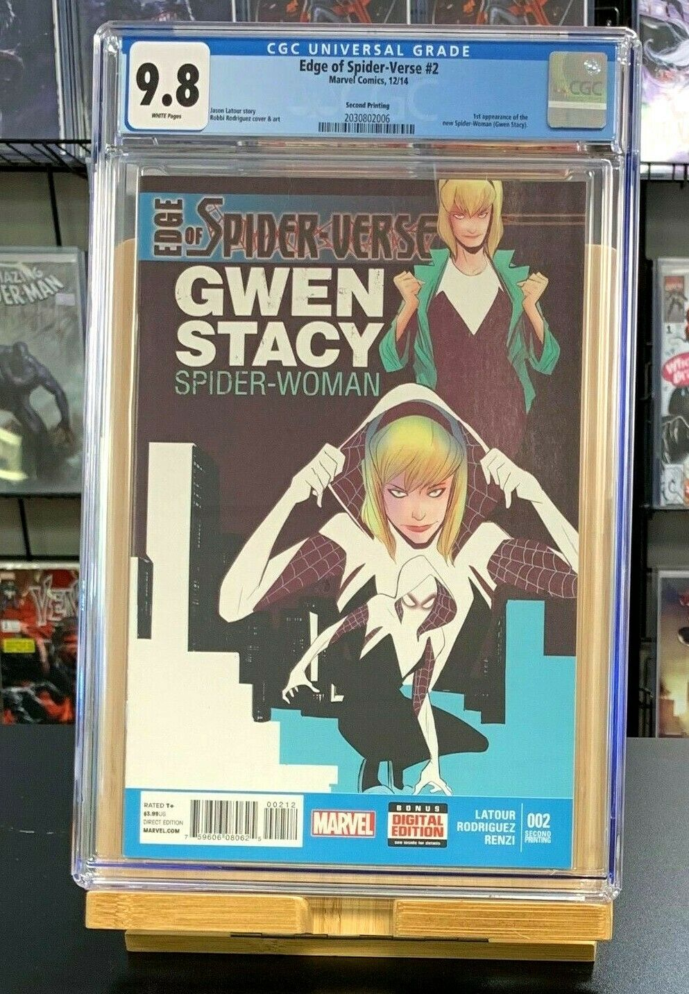 9.8 CGC Edge of Spider-Verse #2 2ND PRINT 1st App Spider Gwen Spider-Woman 2014