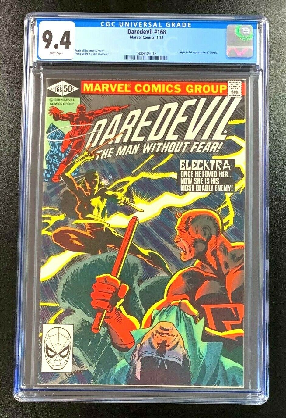 9.4 CGC Daredevil #168 Origin 1st Appearance Elektra Marvel Comics 1981