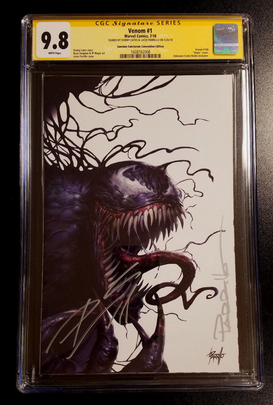9.8 CGC Signature Series Venom #1 Convention Exclusive Virgin Variant Double Signed Cates & Parrillo Marvel Comics