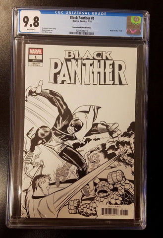 9.8 CGC Black Panther #1 1:1000 B&W Remastered Variant Kirby Marvel Comics 2018