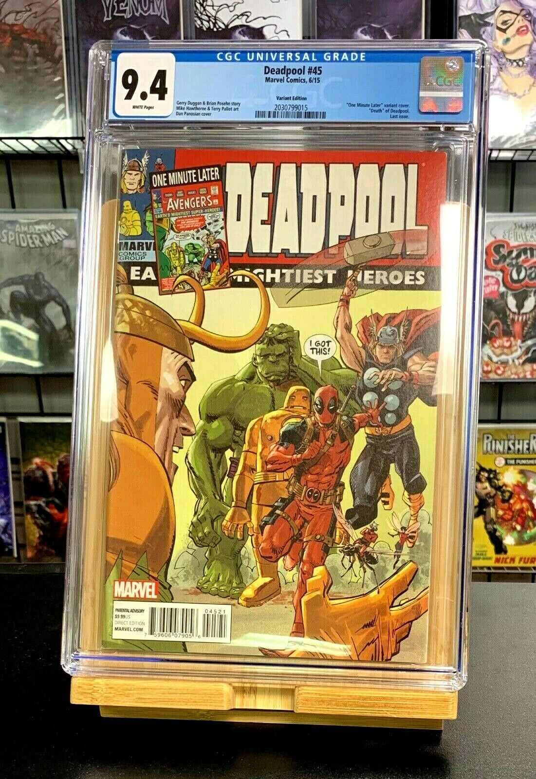 9.4 CGC Deadpool #45 One Minute Later Variant Marvel Comics 2015