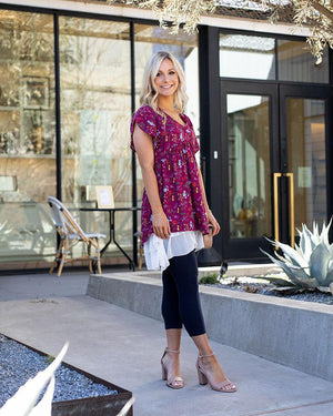 Grace & Lace | Flutter Sleeve Bloom Tunic | Berry Floral