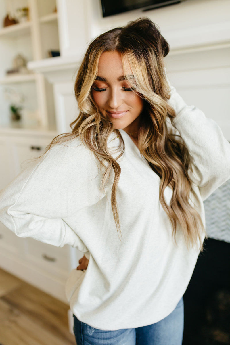 Ampersand V Neck Sweater - Cream