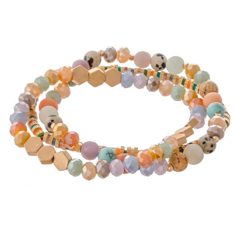 *FINAL SALE* Liza Semi Precious Beaded Bracelet Set | Multicolour