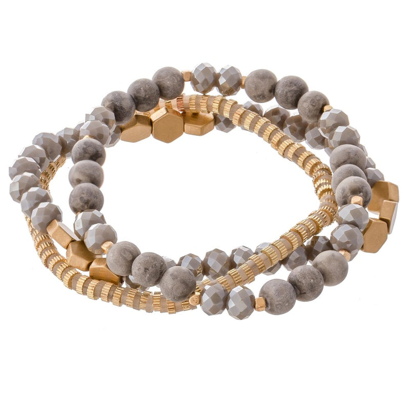 *FINAL SALE* Liza Semi Precious Beaded Bracelet Set | Grey