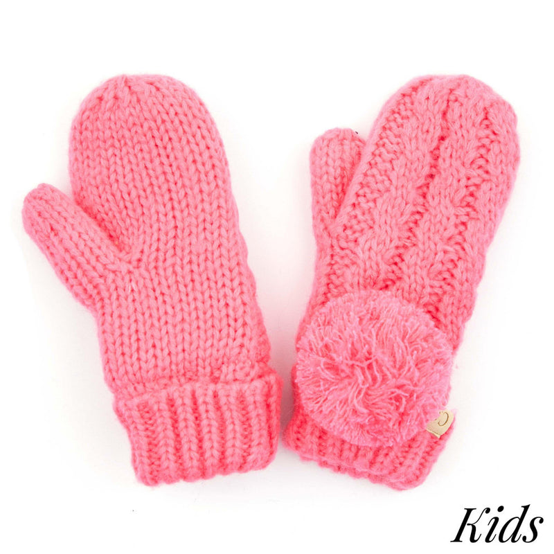 KIDS CC Pom Mittens - Hot Pink