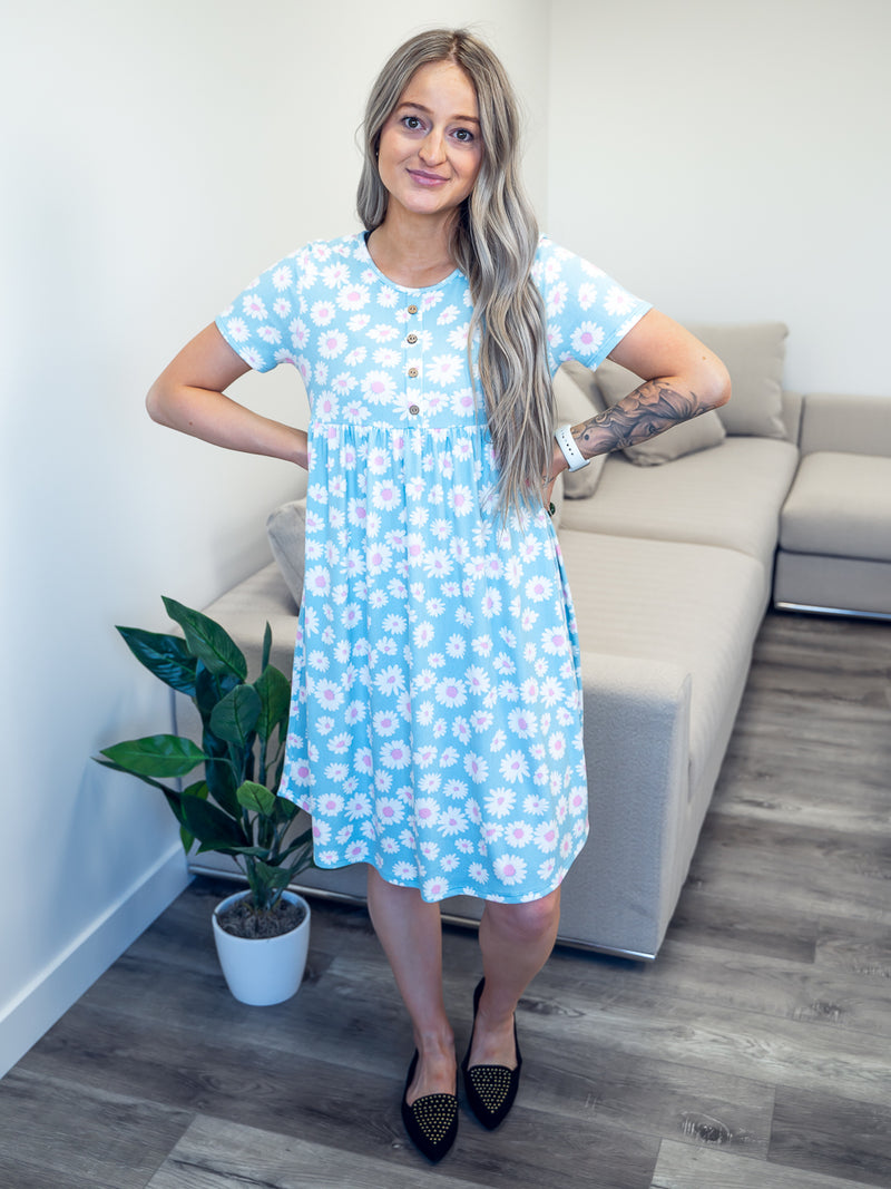 Nightingale Floral Tee Dress | Blue