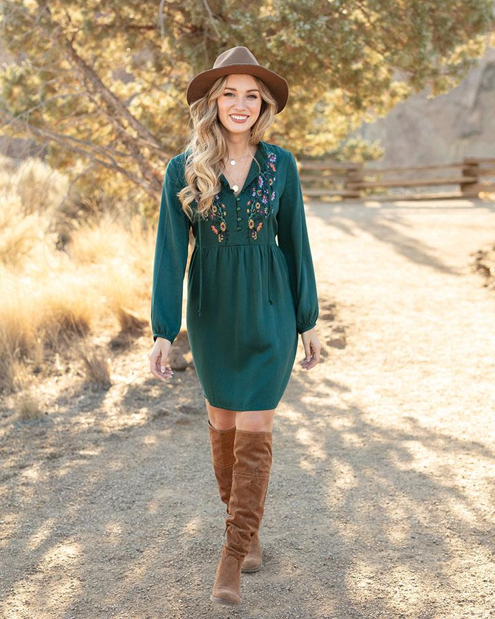Grace & Lace | Autumn Romance Dress | Deep Teal