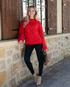 Grace & Lace Baby Loop Knit Sweater - Hot Red