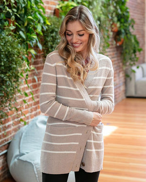 Grace & Lace Bambu Button Cardi | Cream & Ivory Stripe