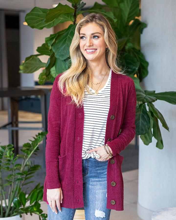 Grace & Lace Bambu Button Cardi | Raspberry
