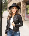 Grace & Lace | Leather Look Biker Jacket | Black Reptile