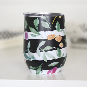 Black Stripe and Floral Full Wine Cup