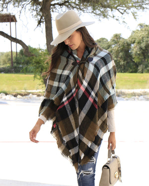 Grace & Lace Blanket Scarf/Toggle Poncho - Olive Plaid