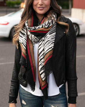 Grace & Lace | Border Print Scarf | Abstract Zebra