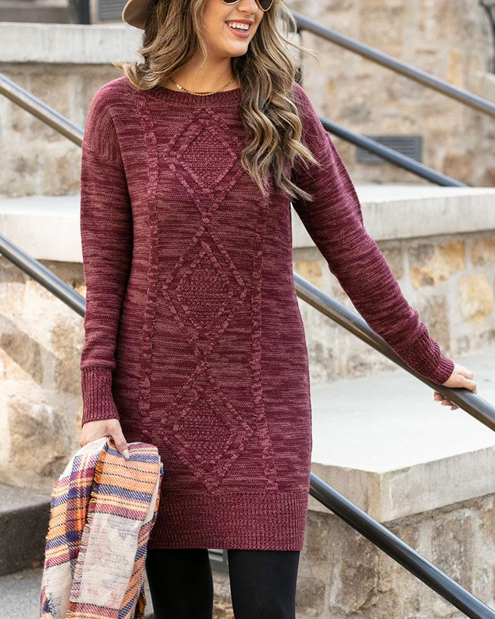 Grace & Lace | Cable Knit Sweater Dress | Wine