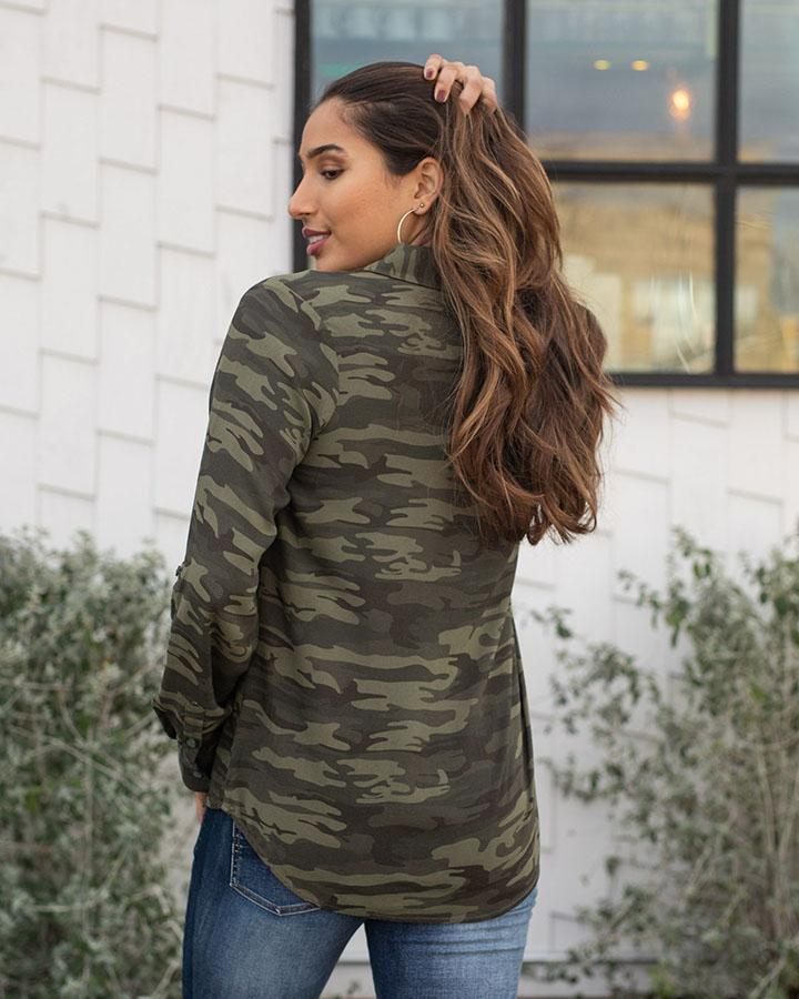 Grace & Lace | Camo Button Up | Olive Camo
