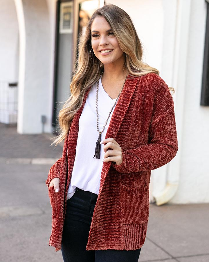 Grace & Lace Chenille Cardigan - Mulled Cider