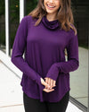 Grace & Lace | Cover Up Cowl Neck Top | Eggplant