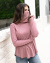 Grace & Lace | Cover Up Cowl Neck Top | Marsala