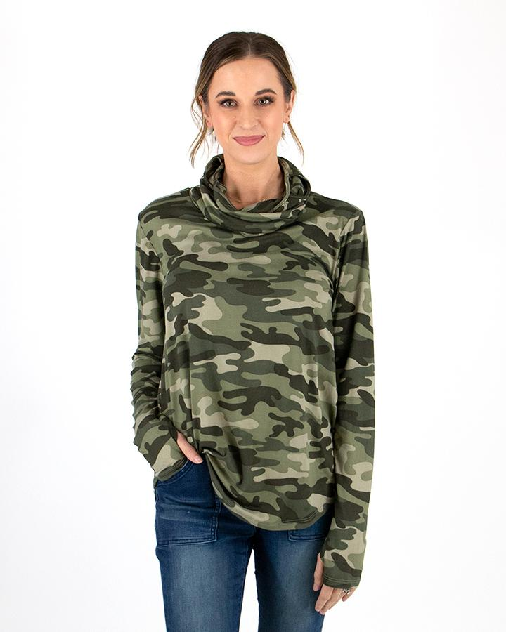 Grace & Lace | Cover Up Cowl Neck Top | SAGE Camo