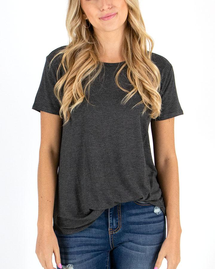 Grace & Lace Perfect Crew Neck Tee - Charcoal