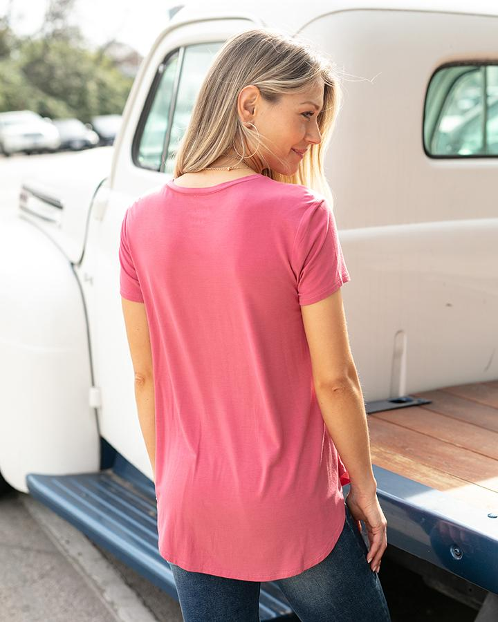 Grace & Lace Perfect Crew Neck Tee - Fuchsia Rose