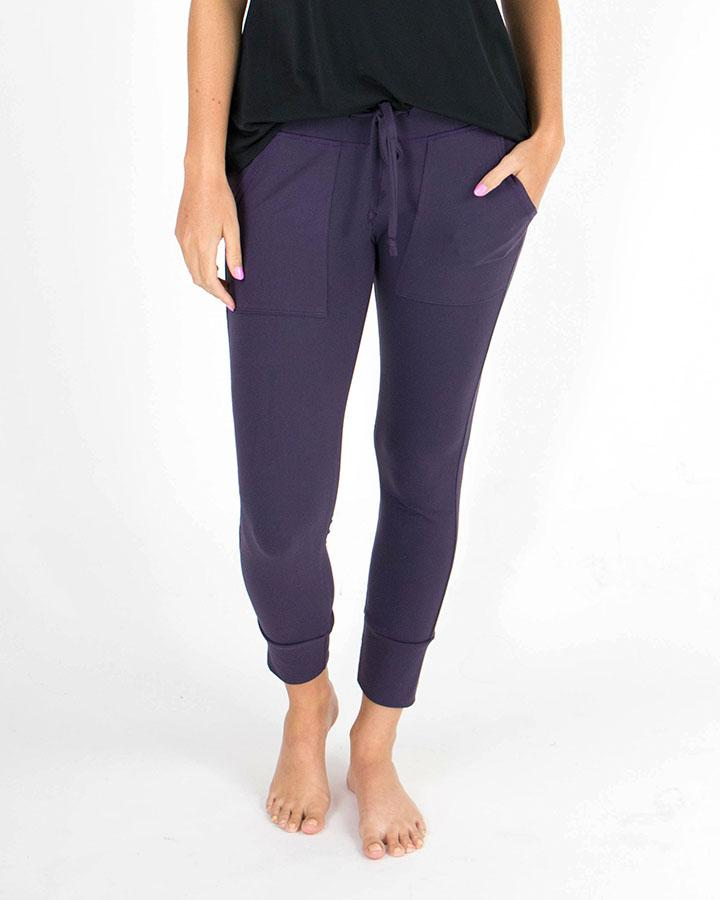 Grace & Lace | Summer Weight CROPPED Live In Loungers | Eggplant