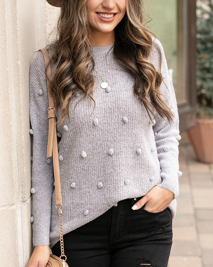Grace & Lace | Dot Sweater | Heathered Grey