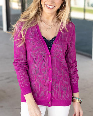 Grace & Lace Double Knit Pointelle Cardi | Fuchsia/Lilac
