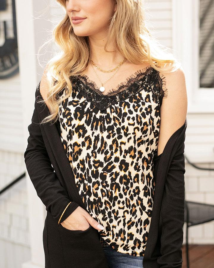 Grace & Lace | Eyelash Lace Cami | Cheetah