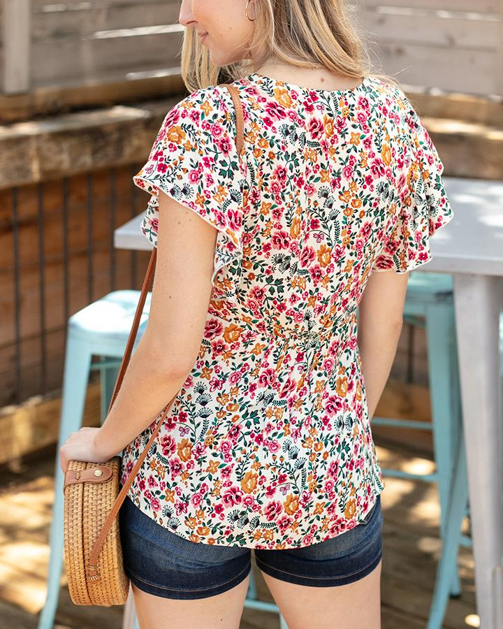 Grace & Lace | Floral Flutter Top | Pink Yellow Floral