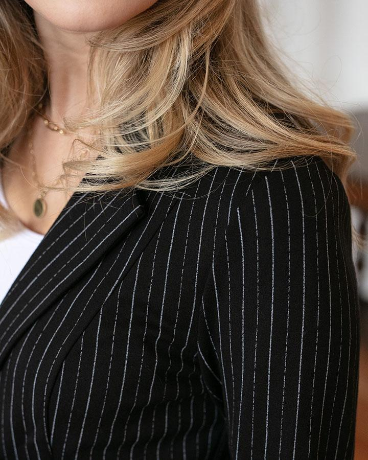 *FINAL SALE* Grace & Lace Fab Fit Blazer - Black PINSTRIPE