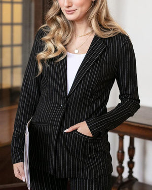 Grace & Lace Fab Fit Blazer - Black PINSTRIPE