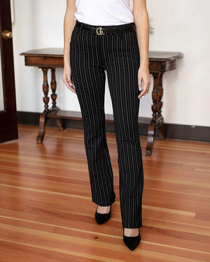 *FINAL SALE* Grace & Lace | Fab-Fit Work Pant | BOOTCUT | Black Pinstripe
